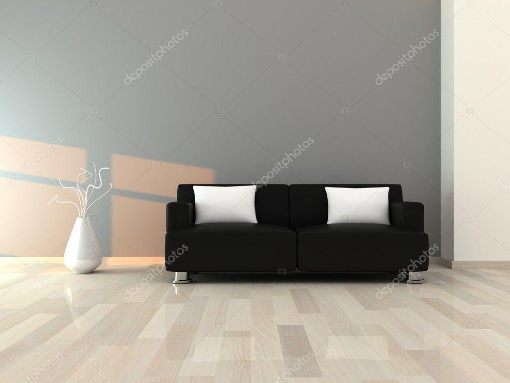 Interieur van de moderne kamer, grijs muur en zwarte bank ...