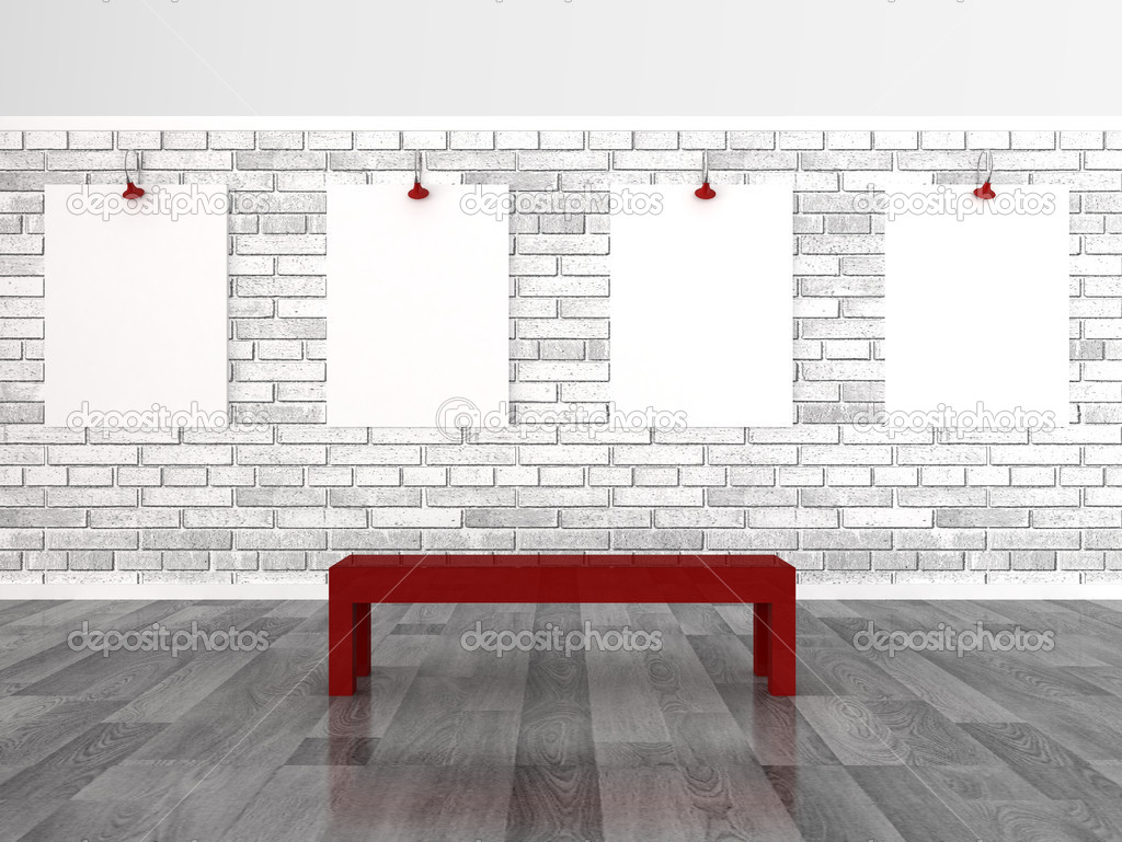 Empty frames on brick wall — Stock Photo #9932124