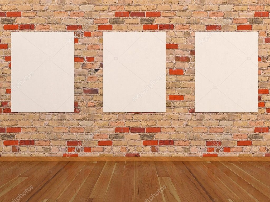 Empty frames on brick wall — Stock Photo #9932128