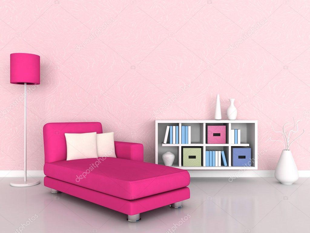 Interieur van de moderne kamer, roze muur en roze Bank — Stockfoto ...