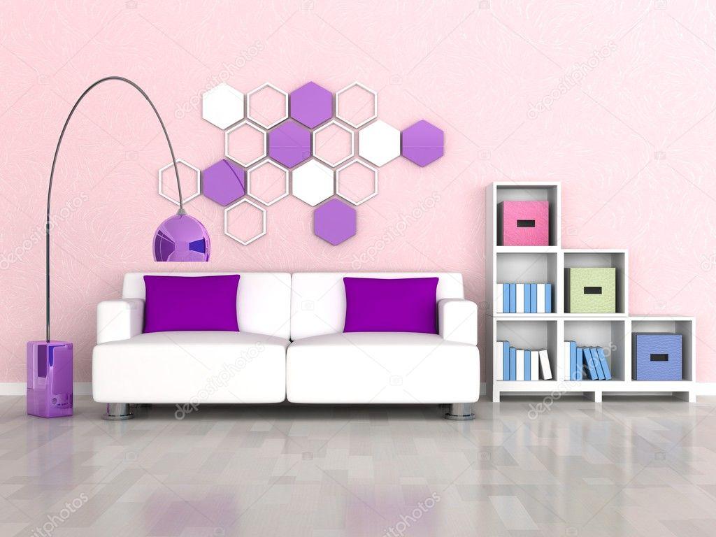 Intérieur de chambre moderne, mur rose, canapé blanc ...