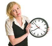 Office lady with a clock — Stockfoto