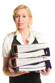 Woman and folders — Stock Photo