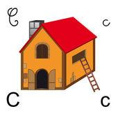 C vir casa alfabeto de escola — Vetor de Stock
