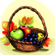 Basket with fruit. — Stock Vector