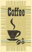 Koffiekopje. jute. — Stockvector
