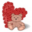 Stock Vector: Valentine Bear With Red Flower Rose and Hearts.