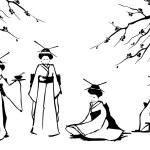 Geisha and sakura. — Stock Vector