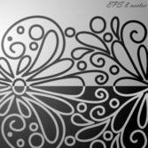 Svart och vitt blommönster. — Stockvektor