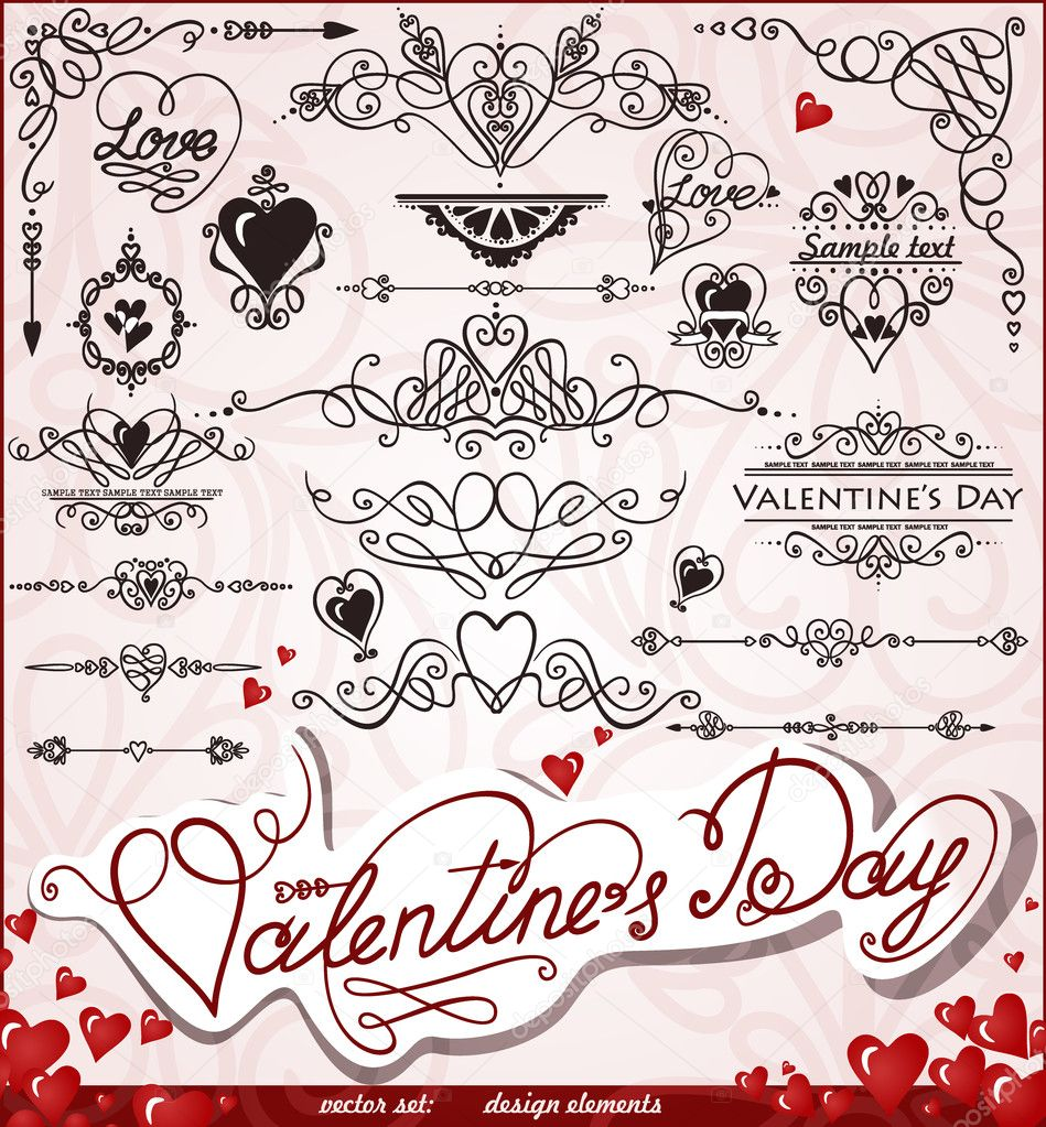 Happy Valentines Day, Love vector set, Abstract, vintage. Vector illustration. Eps 8. — Stock Vector #9446344