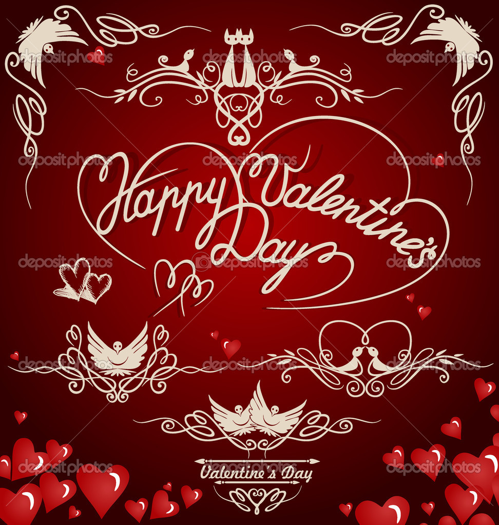 Decorative elements on Valentine's Day. Vector illustration. Eps 8. — Stock Vector #9446388