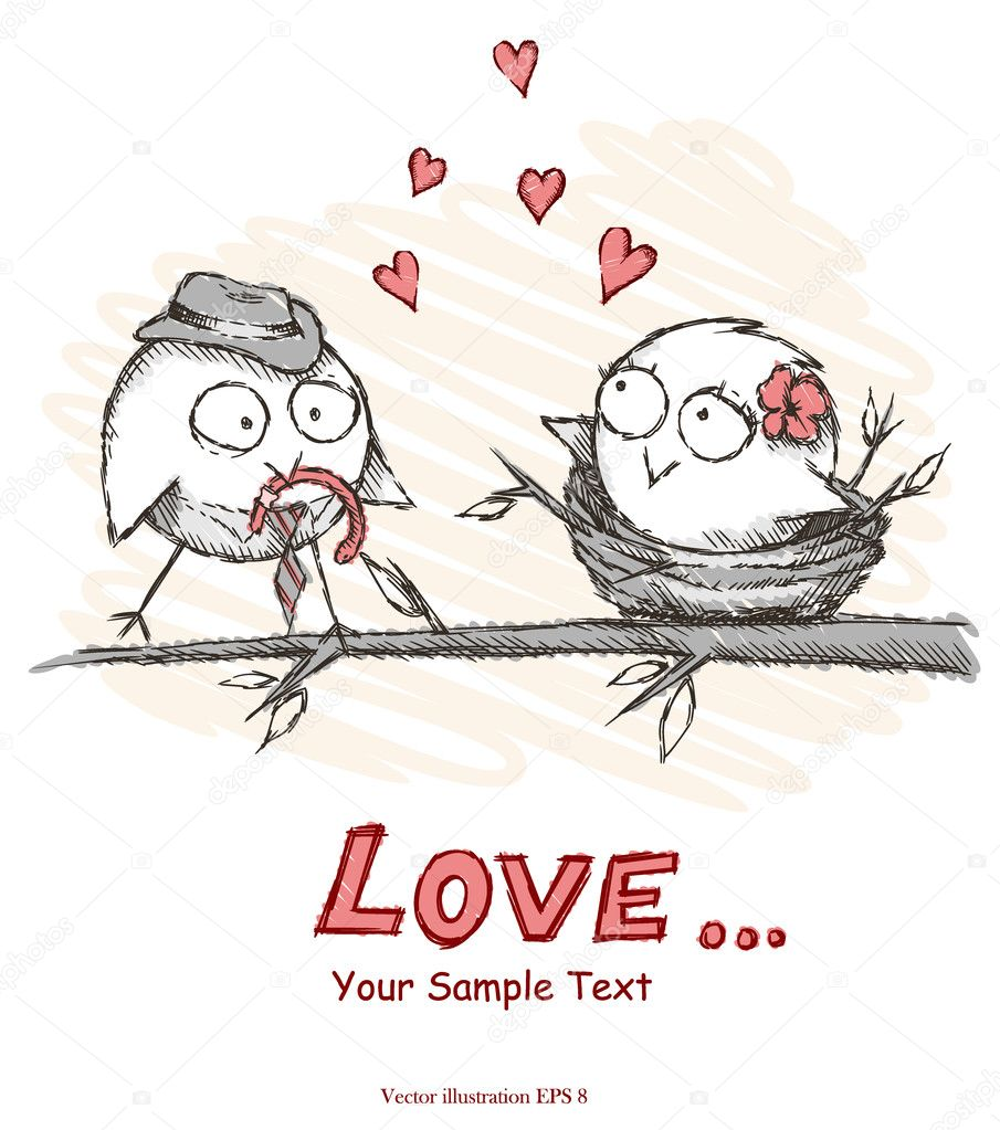 Spring, love birds sitting on a tree. Vector illustration. Eps 8.  Vettoriali Stock  #9446556