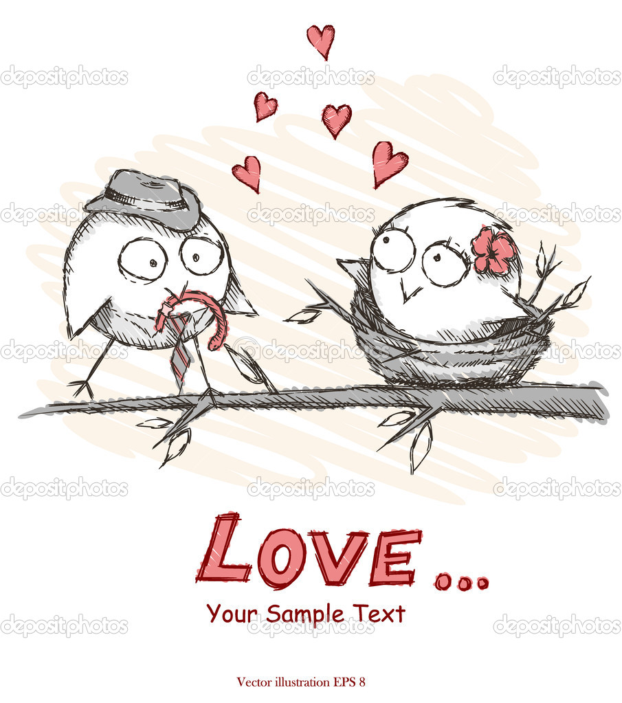 Spring, love birds sitting on a tree. Vector illustration. Eps 8.  Stockvektor #9446556