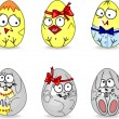 Set of cute Easter eggs. — Stock Vector