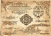Vector decorative ornate design elements & calligraphic page decorations. — Stock Vector