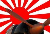 Japanese zero and war flag — Stock Photo
