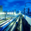 Stock Photo: Train stations night