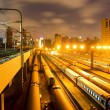 Train stations night — Stock Photo