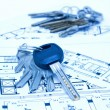 Stock Photo: House keys and plan
