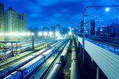 Train stations night — Стоковое фото