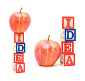Alphabet Blocks IDEA and apple — Zdjęcie stockowe