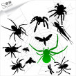 Silhouettes of insects - Spiders — 图库矢量图片