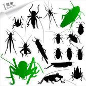 Sylwetki owadów — Wektor stockowy