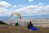 View of the paragliders — Stock Photo