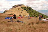 Preparation before the start. Paragliding in Macedonia — Stock Photo
