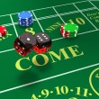 Shooting craps with bets on table - Stock Photo