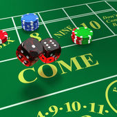 Shooting craps with bets on table — Stock Photo