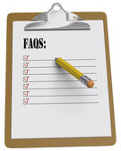 Clipboard with Faqs checlist and stubby pencil — Stock Photo