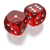 Shooting craps or dice on white background — Stock Photo