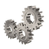 Three Nickel Gears Meshing Together — Stock Photo