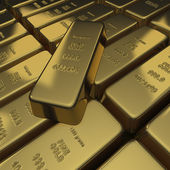 Gold bullion or ingots as a stack — Stock Photo