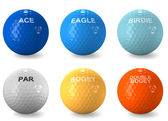Color coded golf balls denoting scores — Stock Photo