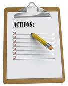 Clipboard with Actions List and stubby pencil — Stock Photo