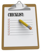Clipboard with Checklist and stubby pencil — Stock Photo
