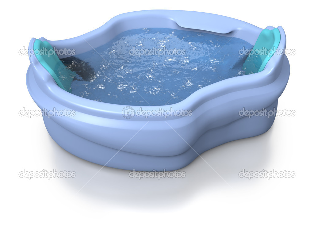 Blue two seater jacuzzi with water moved by unseen hydrojets on white background — Stock Photo #9385765