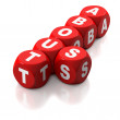 Red dice with About Us concept — Stock Photo