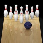 Ten pin bowling in action — Stock Photo