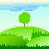 árbol solitario en un prado verde. — Vector de stock