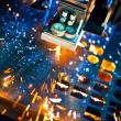 Laser cutting with sparks close up — Stock Photo