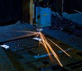 Laser cutting close up — Stock Photo