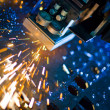 Laser cutting close up — Stock Photo