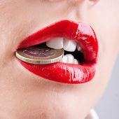 Lábios vermelhos — Foto Stock