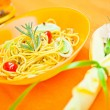 Plate of pasta on the table — Stock Photo