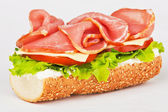 Sandwich of ham lettuce and tomato — Stock Photo