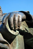 Catholic cardinal. Statue hand. — Stock Photo