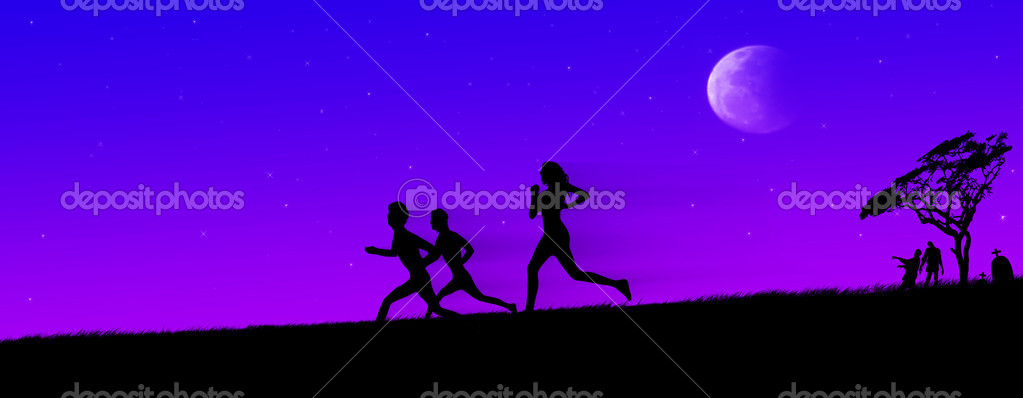 Zombie chase on horrific night  Stock Photo #10498683